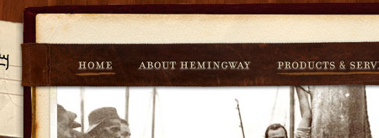 The Ernest Hemingway Collection navigation menu screen shot.