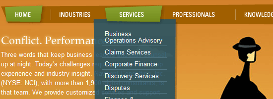 Navigant Consulting navigation menu screen shot.