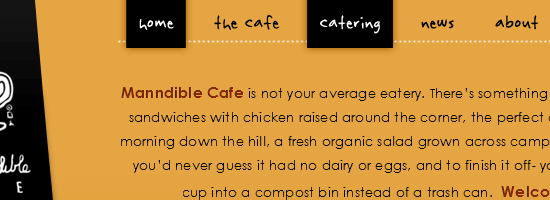 Manndible Cafe navigation menu screen shot.