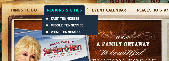 Tennessee Vacation navigation menu screen shot.