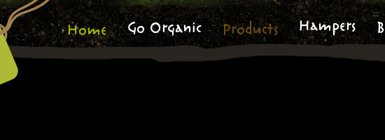 Organic food Ireland navigation menu screen shot.