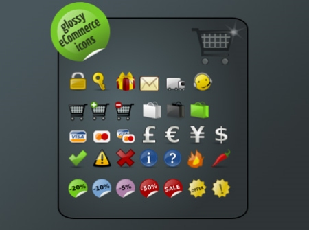Free Glossy E-Commerce Icons