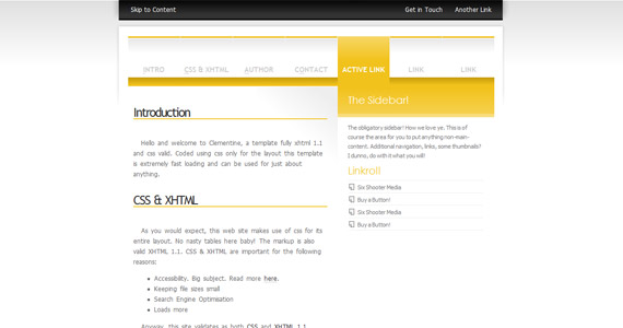clementine-xhtml-css-template
