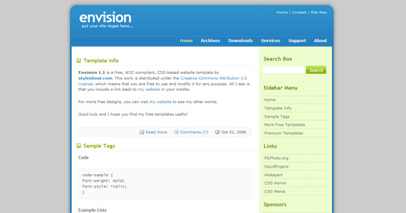 envision-xhtml-css-template