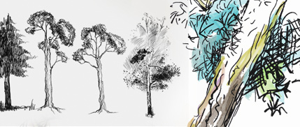 doodled trees