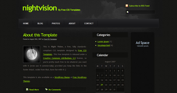 night-vision-xhtml-css-template